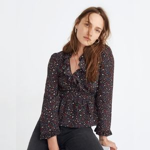 Madewell Silk Ruffle Wrap Top Starry Night